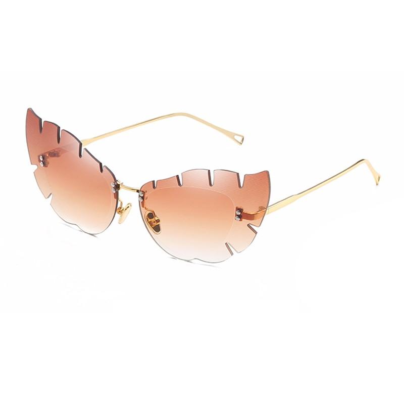 Neue Angekommene Sägezahn Seite Cat Eye Sonnenbrille Für Frauen Männer Coole Brillen Shark Zähne Design Randlose Metall Brillen Oculos L3 Elegantes Und Robustes Paket