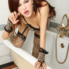 IMC Sexy Lingerie for Woman Leopard Voile Catsuit Cosplay Uniforms with G-string Sexy Costumes Clothing Set