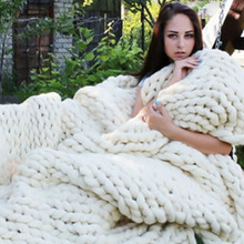 Handmade Chunky Knitted Blanket Thick Yarn Merino Wool Bulky Warm Winter Sofa Bed Home Decor Throws Blankets
