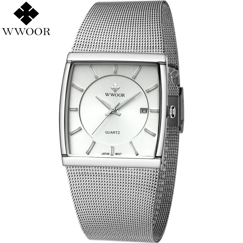 WWOOR 5 Bar Waterproof Watch Men Square Date Stainless Steel Male Clock Quartz Watch for Men Sports Wristwatch relogio masculino xinew male clock men s stainless steel sport watch date quartz watch men clock horloges mannen wristwatch mens men clockz