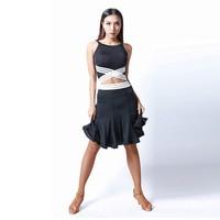 Latin Dance Dress Black Sexy Sling Top Skirts Dancewear Women Tango Cha Samba Costumes Dancing Clothes Training Wear DNV10109