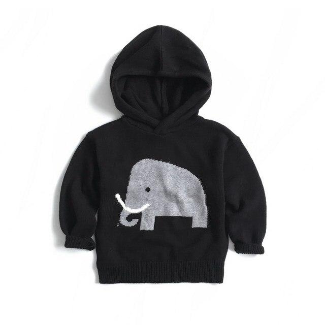 2016 AUTUMN WINTER Ins hot children's clothing pullover ELEPHANT pattern sweater black VESTIDOS VETEMENT ENFANT BABY BOY CLOTHES