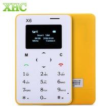 AIEK X6 карты мобильный телефон gsm 2 г 4.8 мм ультра тонкий pocket mini slim карты телефон 1.0 дюймов LED Дисплей QWERTY клавиатура мобильного телефона