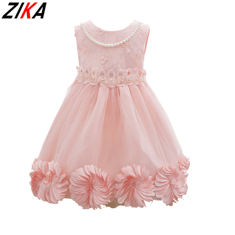 ZIKA Princess Flower Girl Dress Summer Pink Wedding Birthday Party Dresses For Girls Children's Costume Teenager Prom Designs2-7 princess dress rose flower girl dress summer wedding birthday party dresses for girls children s costume teenager prom dress