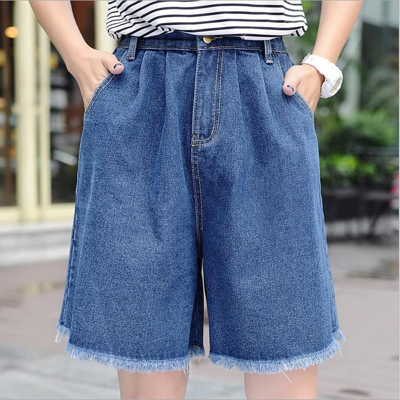 High Waisted Elegant Denim   Shorts   Womens Sexy Jeans   Short   MID-Length Wide Leg With Tassel Cotton Blue Thin Plus Size S-3XL