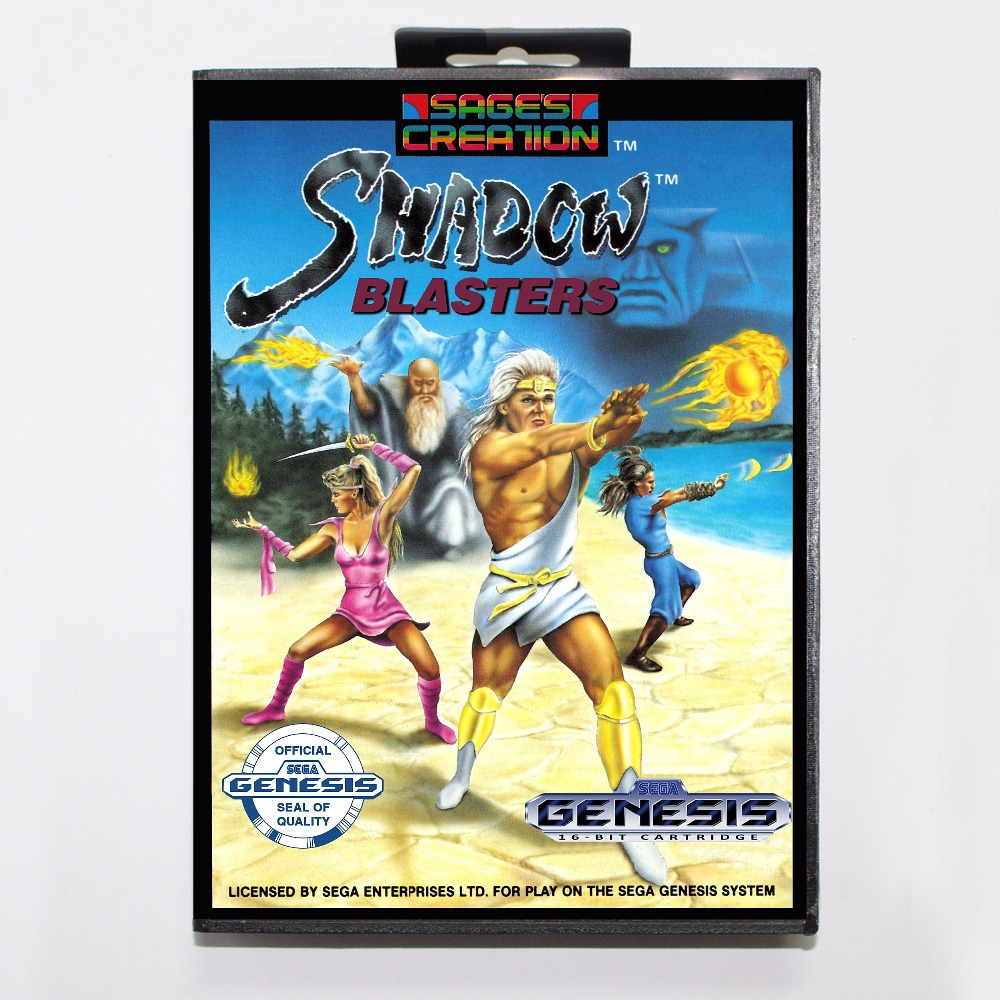 Shadow Blasters Game Cartridge 16 bit MD Game Card With Retail Box For Sega Mega Drive For Genesis