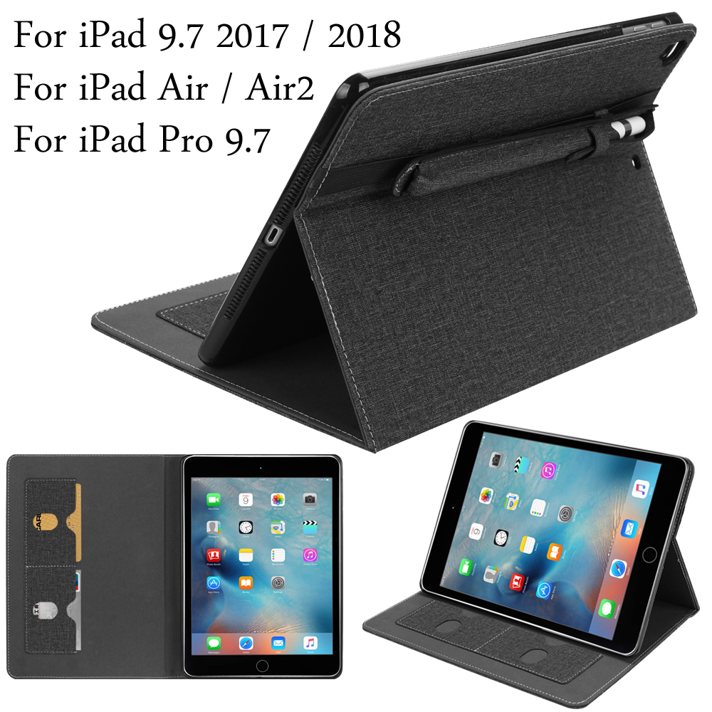 For iPad 5 / 6 / Air / Air2 / Pro 9.7 Smart Cover Protective Stand Case With S Pen Stylus Holder For iPad 9.7 2017 / 2018 все цены