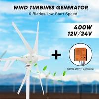 400W Wind Generator Turbine Wind Power Turbine with 600W MPPT Waterproof Controller 12V 24V 6 Blades