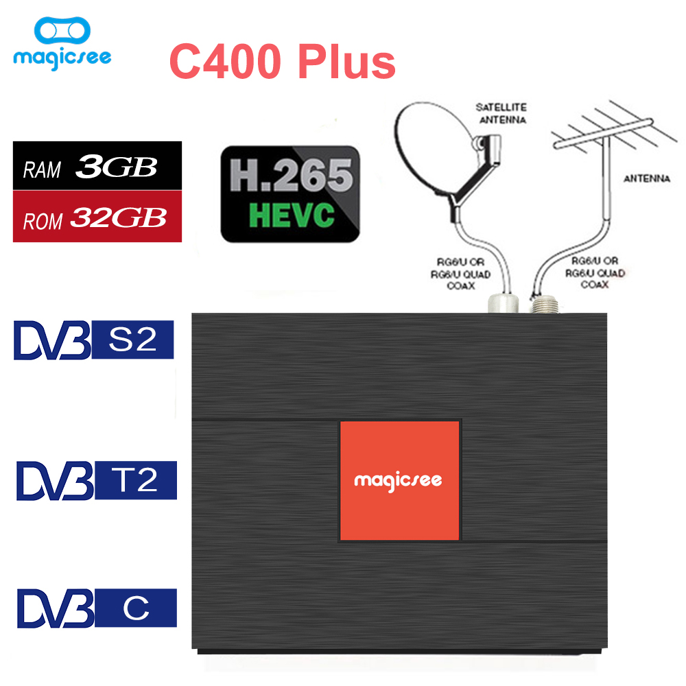 C400 Plus Amlogic S912 Octa Core TV Box 3+32GB Android 4K set top box DVB-S2 DVB-T2 Cable Dual WiFi Smart Media Player pk KIII цена