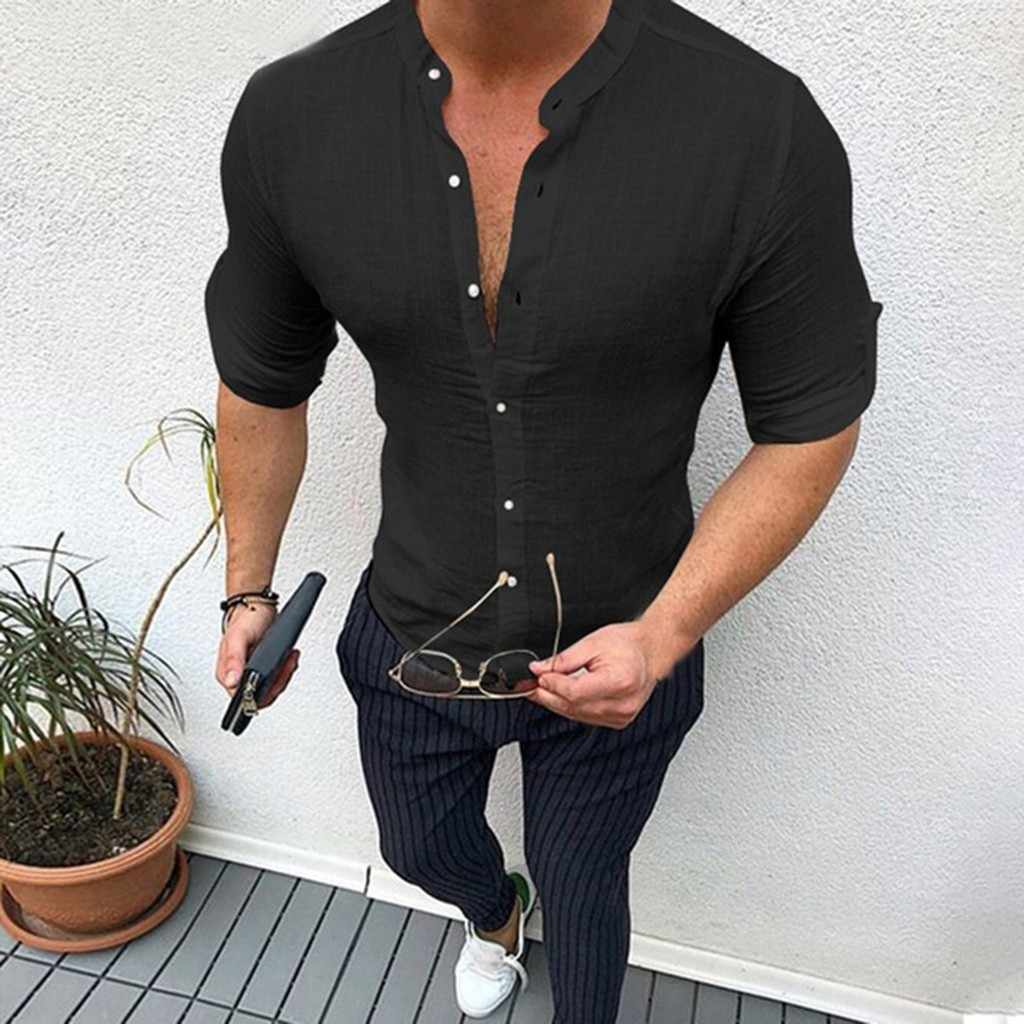 Men's shirt Camisa Summer long sleeve Male Blouse Top New Style Comfortable Pure Cotton And Linen Shirt men Camisa masculina