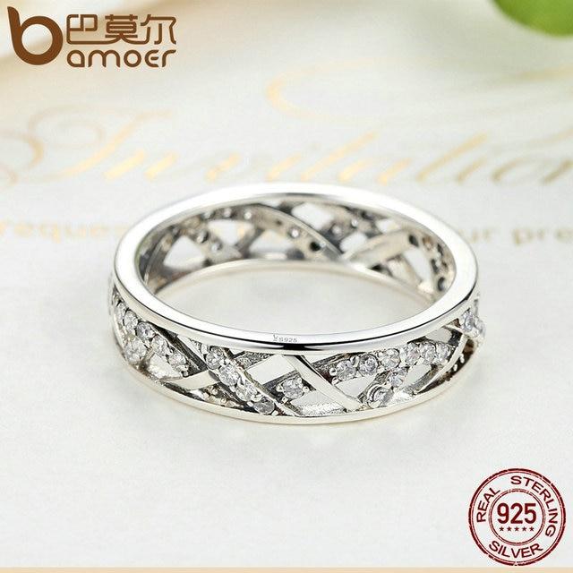 BAMOER Wedding 5mm Larghezza 3 Dimensioni di Alta Qualità Cristalli Bianchi 925 Sterling Silver Ring Finger per Le Donne Gioielli SCR002