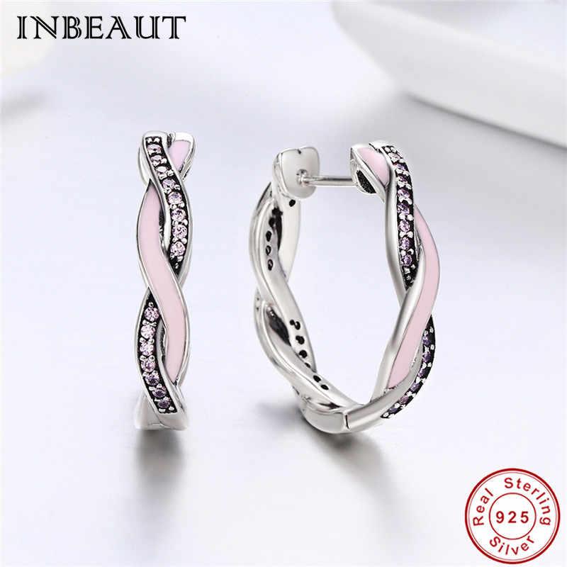 41fa39965 ... INBEAUT 100% Real 925 Sterling Silver Pink Enamel Double Twist Round  Zircon Stones Stud Earrings ...