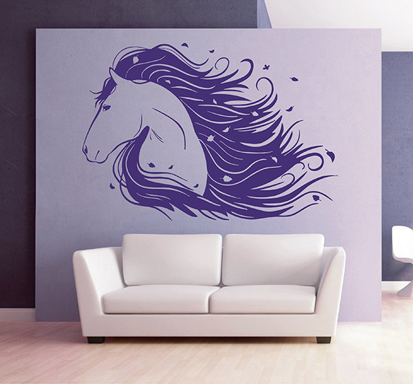 Beautiful horse head wall decal horse animal wall sticker - Beautiful wall stickers for living room ...