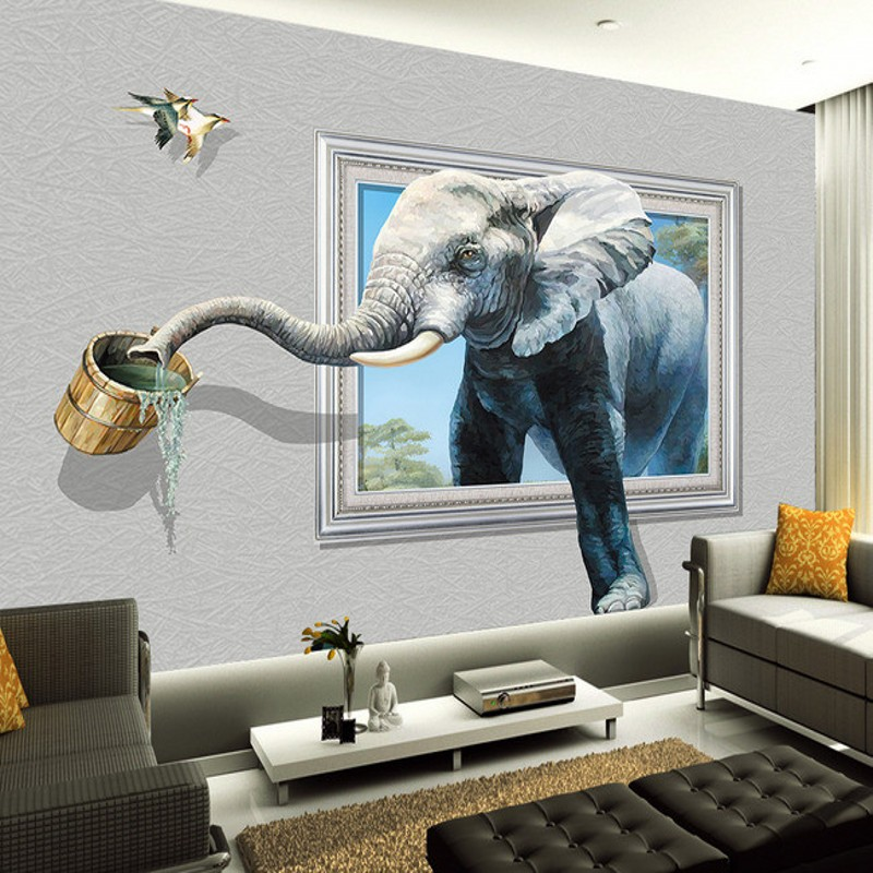 Beibehang Papel De Parede Custom Wallpaper Wall Sticker Large Mural 3D Stereo Elephant Wallpaper TV Background Wall Background