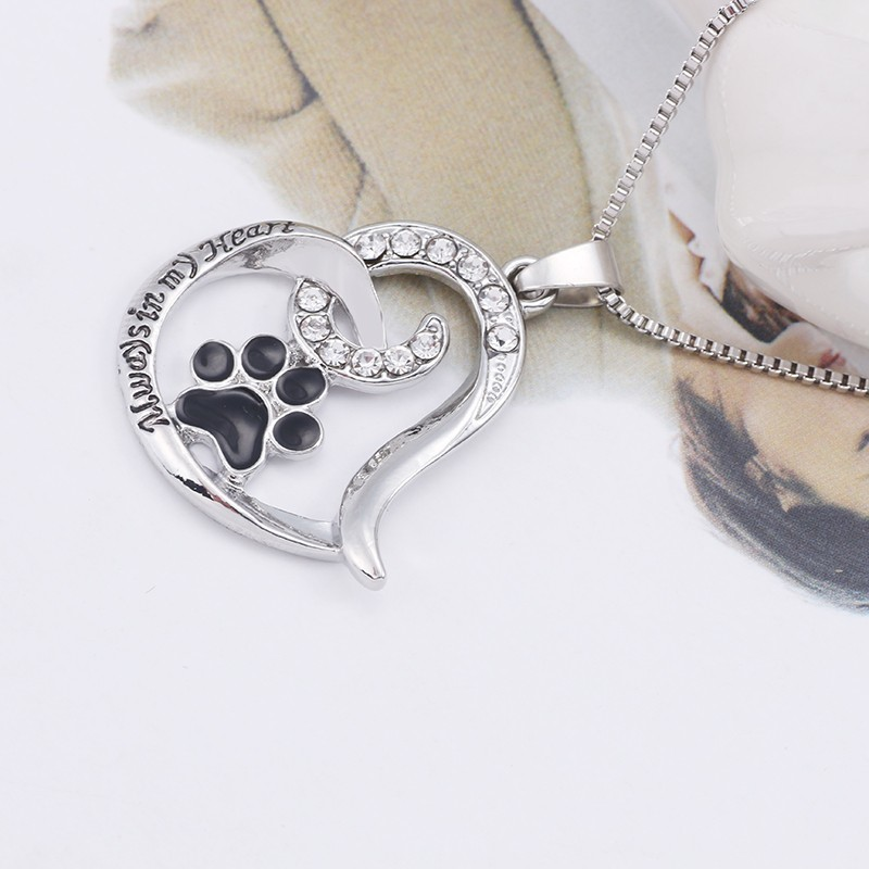 Fashion Pet Dog Claw Love Pendant Necklace for women Fashion Rhinestone Heart Pendant Black Paw Footprint Necklace Jewelry in Pendant Necklaces from Jewelry Accessories