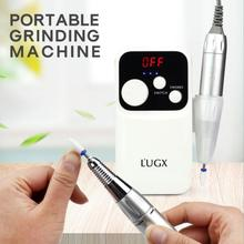LUGX 602 18W 35000RPM ładowanie przenośne elektryczne Manicure wiertarka narzędzie do polerowania zestaw Nail Art wyposażenie ozdoby do paznokci