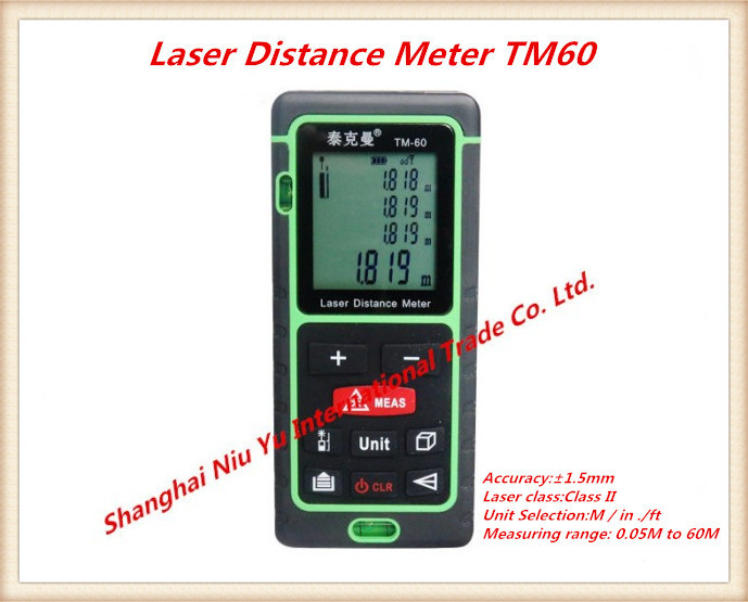 2015 New Laser Distance Meter Contact LCD Display Handheld rangefinder 80m Range 0.05M to 60M   Range finder kaman mk 60 1 8 lcd handheld laser distance meter rangefinder black red multi colored