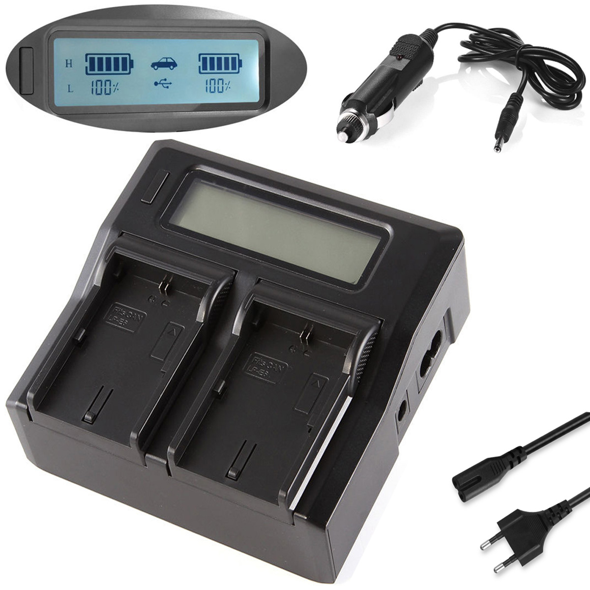LCD Quick Battery Charger for Sony HXR MC1500,MC1500P,MC1500E, MC2000, MC2000E,MC2000U, MC2000N, <font><b>MC2500</b></font>, MC2500E AVCHD Camcorder image