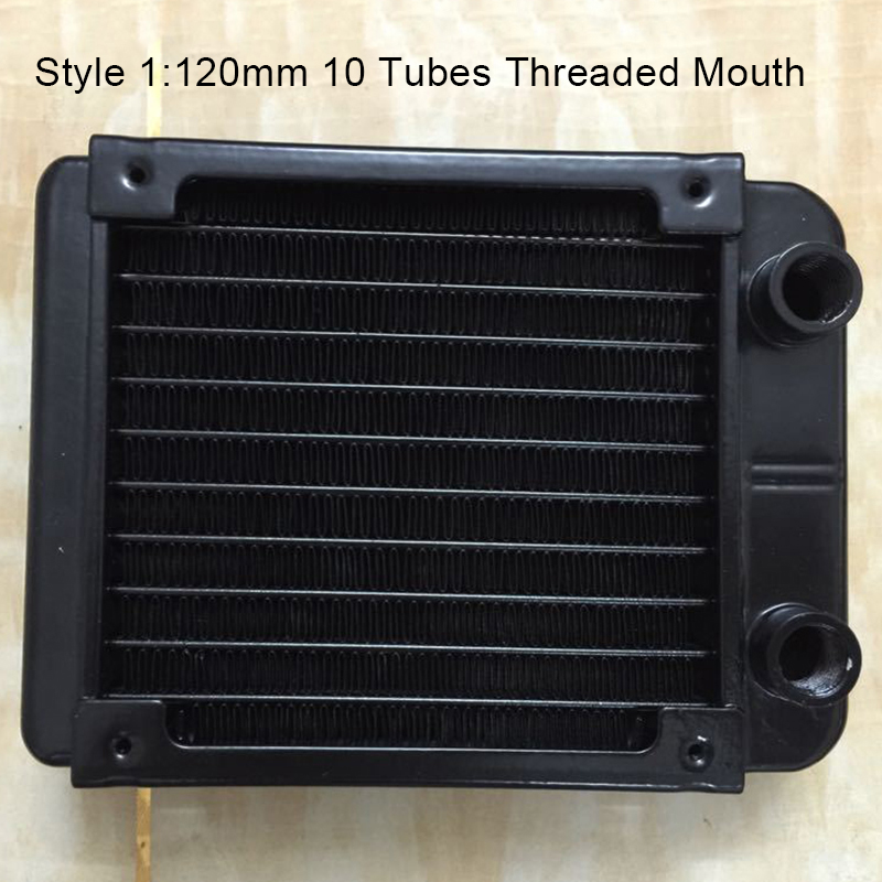 120mm Threaded/Straight Mouth 10/18 Tubes Water Cooling Row Radiator Heat Exchanger Computer PC Industrial