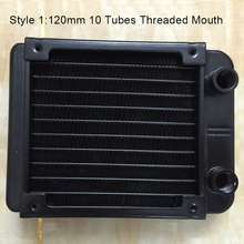 купить 120mm Threaded/Straight Mouth 10/18 Tubes Water Cooling Row Radiator Heat Exchanger Computer PC Cooling Row Industrial Row по цене 1163.24 рублей