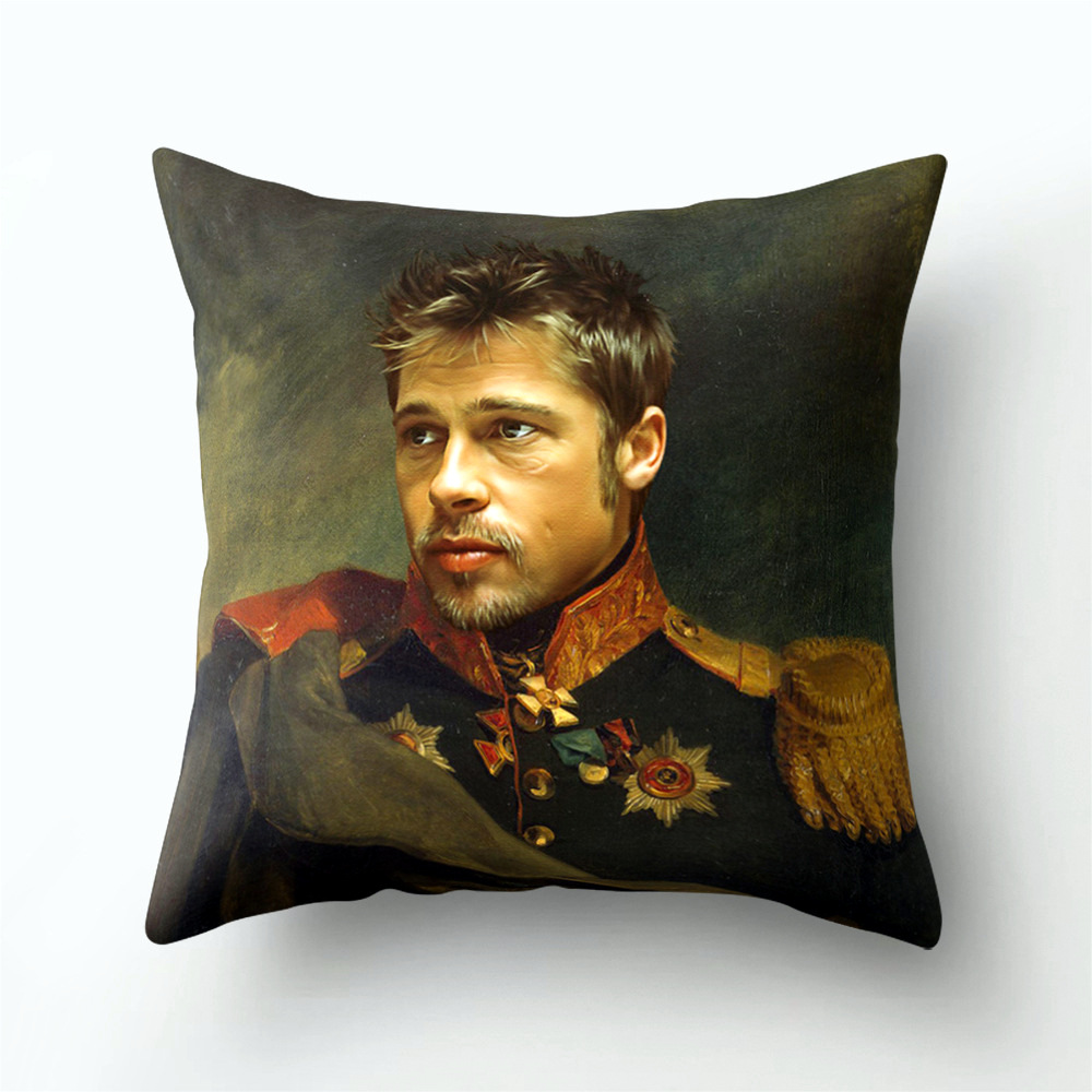 Image 5 - People Portraits Linen Cushion Throw Pillow Covers Sofa Living Room Home Decoration Retro Green Army Jacket Pillowcase 45x45-in Cushion Cover from Home & Garden