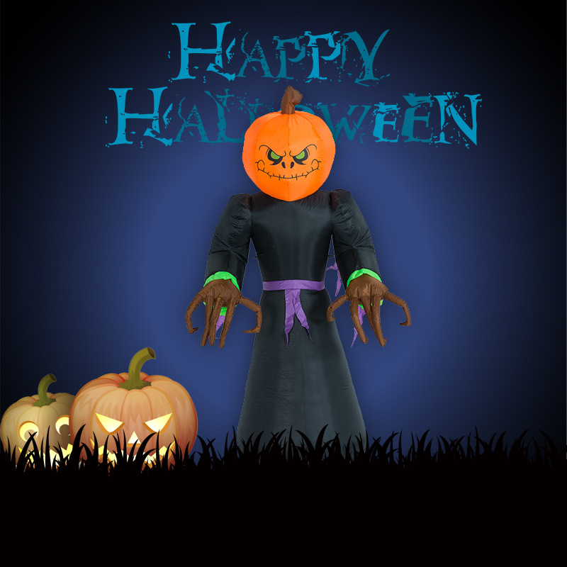 24m inflatable pumpkin ghost man lighted airblown halloween creepy scary decor haunted house prop outdoor