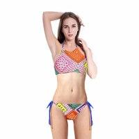 2017 New Design Summer Geometry Printed Halter Swimwear Women Sports Swimsuit Bikinis Sexy Bandage High Neck