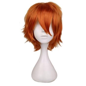 Qqxcaiw men curto traje cosplay peruca meninos laranja resistente ao calor perucas de cabelo sintético