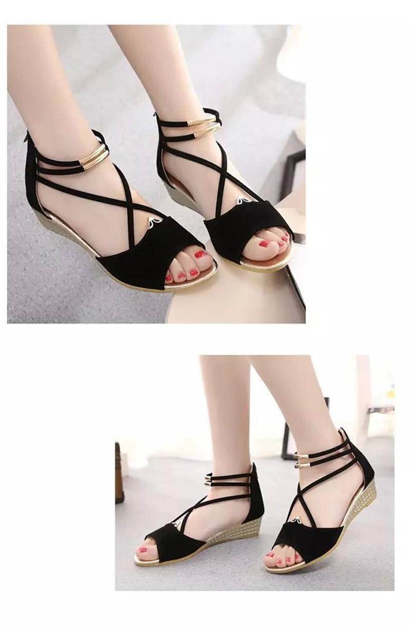 HTB1kNm3ahrvK1RjSszeq6yObFXaj Peep toe Sandals Women Summer Shoes 2019 Women Wedges Sandals Fashion Summer Ladies Wedge Shoes Woman Sandal Black Red Blue A679