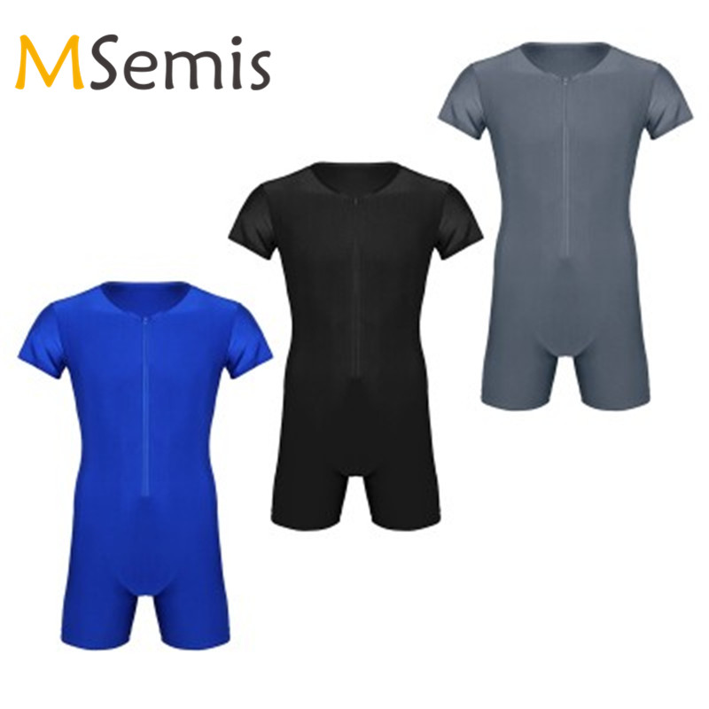 012e642cf94 MSemis Mens Wrestling Tights Leotard Bodysuit Bodystocking Ballet Dancewear  One-piece Short Sleeve Zipper Soft Bodysuit Jumpsuit