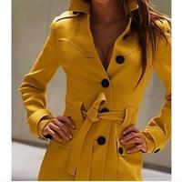 Autumn Winter Fashion Women's Woolen Cashmere Trench Coat Plus Size XS XXL