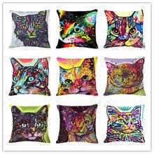Cartoon Style Decor Cotton Linen Cushion Multicolor Cat Pattern Print Sofa Throw Pillow Home Decor Square