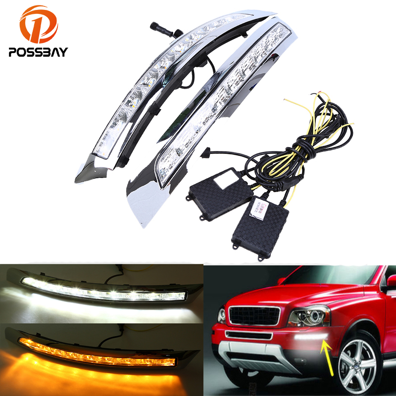 POSSBAY Auto LED DRL Daytime Running Light Fog Light Driving White Yellow Turn Signal Lamp for Volvo XC90 2007-2013 Foglamps tcart drl headlights with turn signal lights for ford mondeo 2013 2016 daytime running light auto led day driving fog lamp