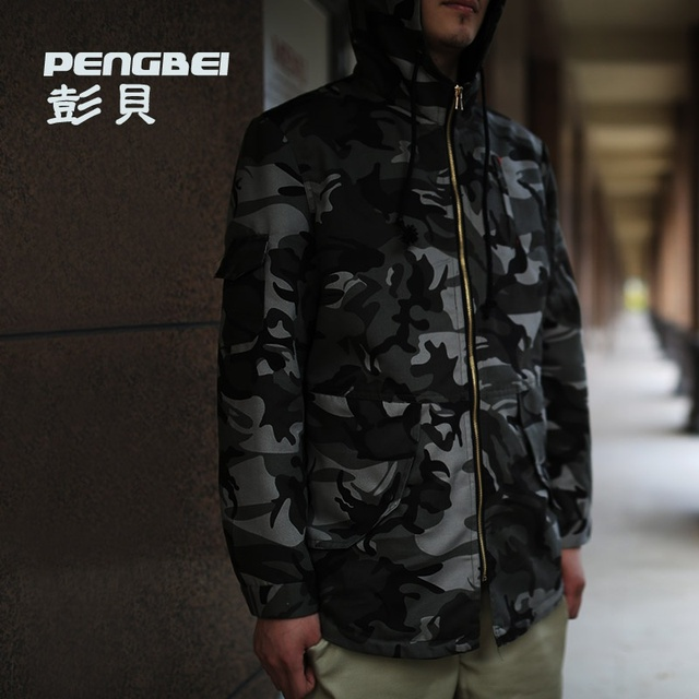 2015 new autumn sport casual hip hop jackets men's long trench coat men punk camouflage military outdoor long trench jacket