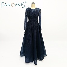 Navy Blue Evening Dresses Long Sleeves Lace Evening Gowns 2018 with Pearls Handmade Flowers Formal Gowns vestido de festa(China)
