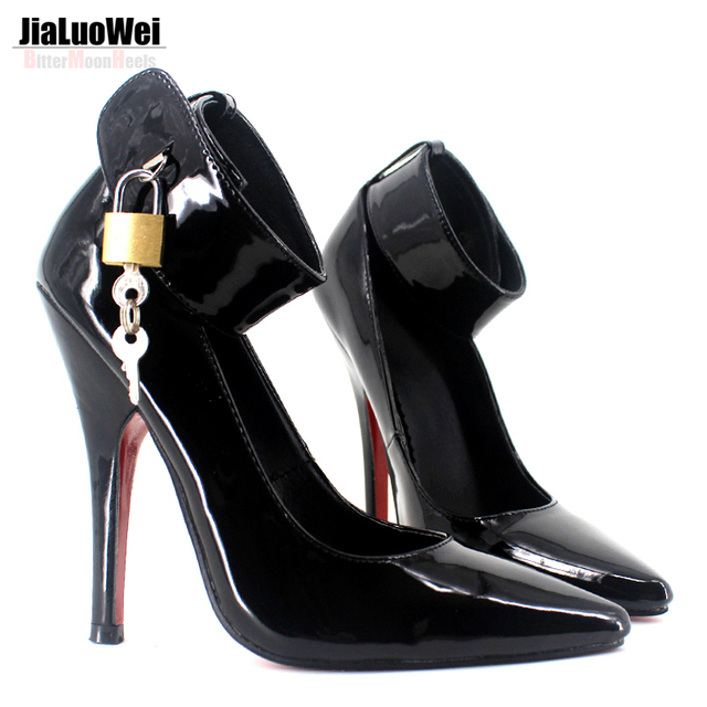 "BDSM Sexy High Heel Pump Lock And Key 5"" High Heel plus size shoes 5 through 14"