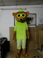 2017 Endearing Brown Bear Mascot Costume With Green Glasses Protruding White Face Black Small Nose Adult Size Dress