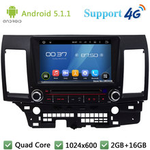 Quad Core 8″ 1024*600 2Din Android 5.1.1 Car DVD Player Radio Stereo FM DAB+ 3G/4G WIFI GPS Map For Mitsubishi Lancer 2006-2012
