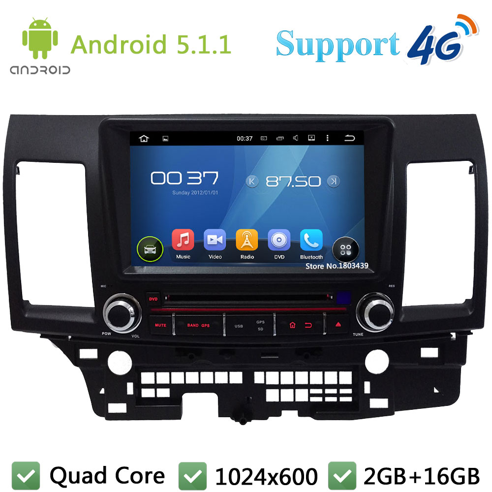 Quad Core 8 1024*600 2Din Android 5.1.1 Car DVD Player Radio Stereo FM DAB+ 3G/4G WIFI GPS Map For Mitsubishi Lancer 2006-2012 2 din quad core android 4 4 dvd плеер автомобиля для toyota corolla camry rav4 previa vios hilux прадо terios gps navi радио mp3 wi fi