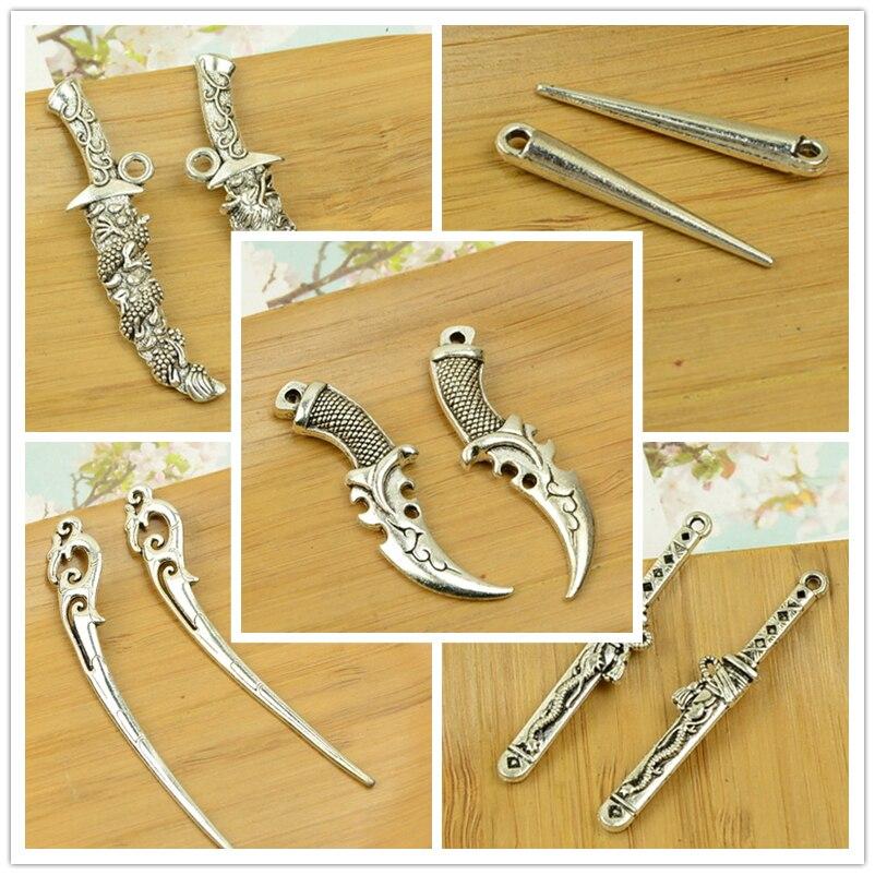 diy sword/sabre/blade/knife/pointed end/sharp end <font><b>shape</b></font> <font><b>alloy</b></font> charm pendant vintage <font><b>warrior</b></font> man jewelry accessories <font><b>key</b></font> <font><b>ring</b></font> hot