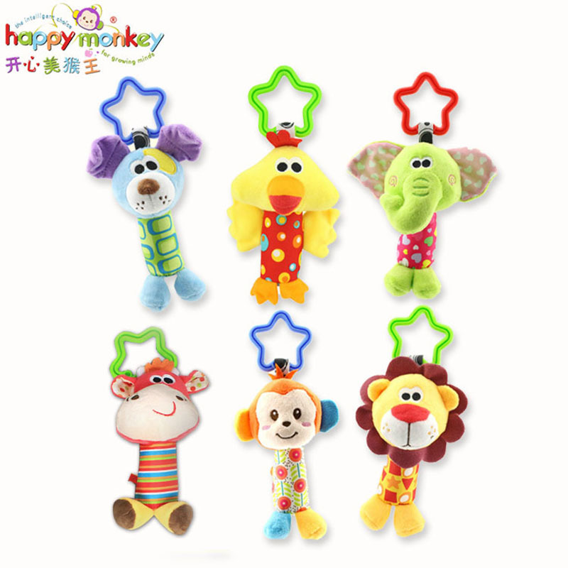 6 pcs / lot Happy Monkey Animal Bang Bang Hand Bell Baby Hand Catch Bell Toys Lathe Hang Alpinia Oxyphylla Bell baby toys