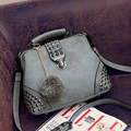 2015 заклепки старинные врач мешок высокое качество новинка вестник мешки женская замши Lether сумочка Crossboday сумки
