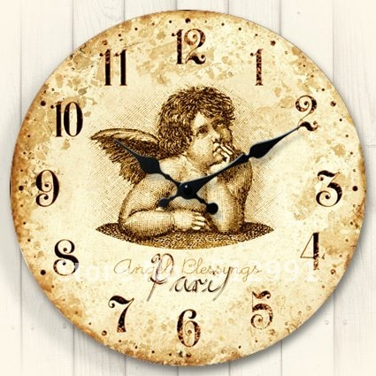 Free shipping,Antique wood decorative wall clock with Angel rusitc finished,MDF clock,water transfer printing,good gift ZLC0028