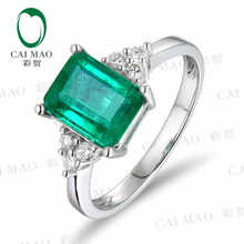 CaiMao 1.87 ct Natural Emerald 18KT/750 White Gold 0.18 ct Full Cut Diamond Engagement Ring Jewelry Gemstone colombian