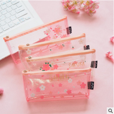 Pink Petal Cherry Sakura Pencil Bag Case Stationery Storage Organizer Bag School Office Supply