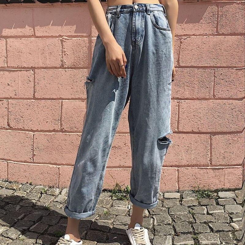 Plus Size 5XL Womens Denim Pants Summer Vintage Loose Slim Wide Leg Harem Pants High Waist Hole Ladies Jeans Trousers Mujer A315