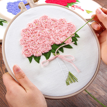 3D DIY Rose Flower Bouquet Embroidery Set with Hoop for Beginner Needlework Kits Cross Stitch Sewing Unique Gift Wedding Decor embroidery