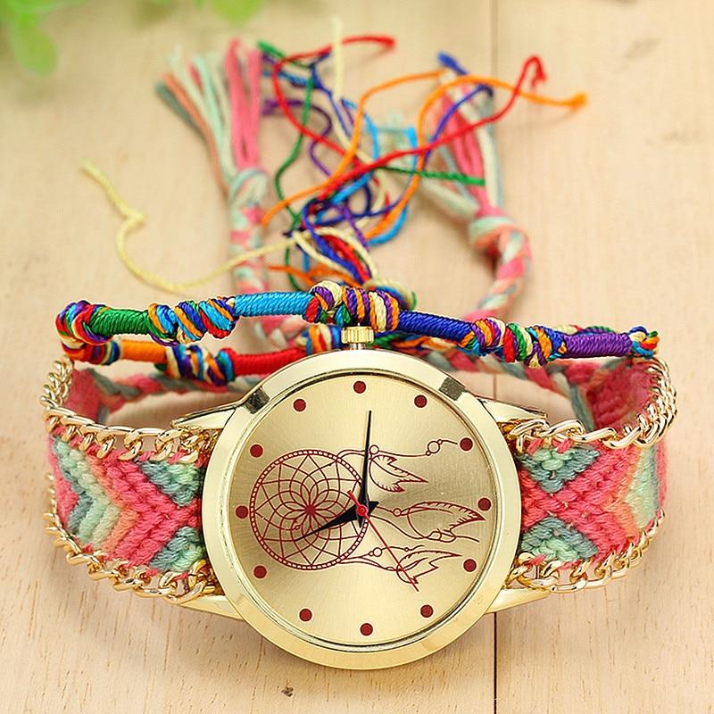 Dropshipping Handmade Braided Dreamcatcher Friendship Bracelet Watch Ladies Rope Watch Quarzt Watches Relogio Feminino  1
