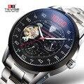 Мужские полностью стальные автоматические механические часы Лидирующий бренд TEVISE хронограф турбийон часы мужские наручные часы военные ч...