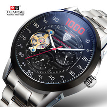 Men Full Steel Automatic Mechanical Watches Top Brand TEVISE Chronograph Tourbillon Clock Wristwatch Military